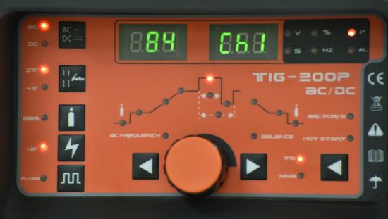 TIG AC DC 200A Sanyu čelna plošča